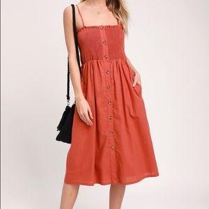 Lulus Terra Cotta Button Front Dress Size Small